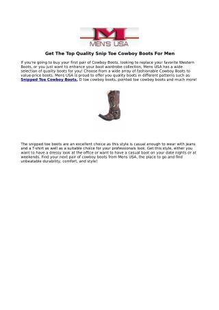 Get The Top Quality Snip Toe Cowboy Boots For Men