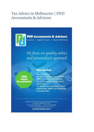 Tax Advice in Melbourne | PND Accountants & Advisors