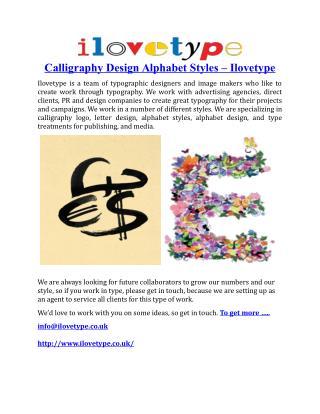 Calligraphy Design Alphabet Styles
