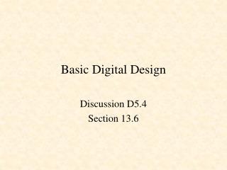 Basic Digital Design