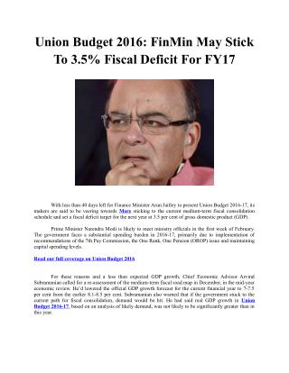 Union Budget 2016: FinMin May Stick To 3.5% Fiscal Deficit For FY17