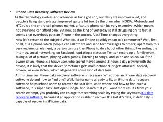 iPhone Data Recovery Software Review
