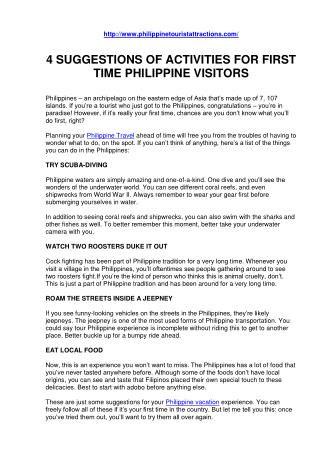 4 SUGGESTIONS OF ACTIVITIES FOR FIRST TIME PHILIPPINE VISITORS
