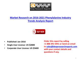 Phenylalanine Industry Global Growth Analysis Report 2016.