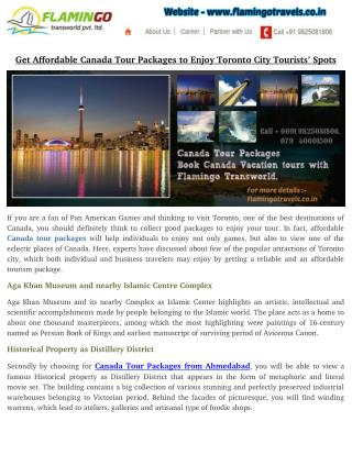 Get Affordable Canada Tour Packages to Enjoy Toronto City Tourists' Spots