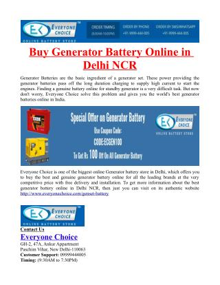 Buy Generator Battery Online in Delhi NCR