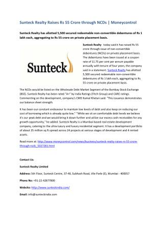 Sunteck Realty Raises Rs 55 Crore through NCDs - Moneycontrol