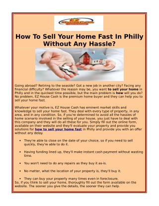 How To Sell Your Home Fast In  Philly