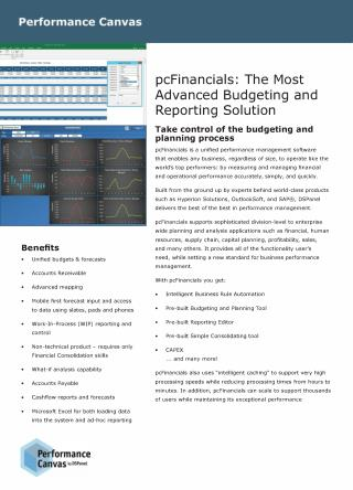 CPM Software for Budgeting, Planning, Reporting and Conlidating | pcFinancials
