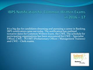 IBPS Notification for Common Written Exams in 2016 – 17