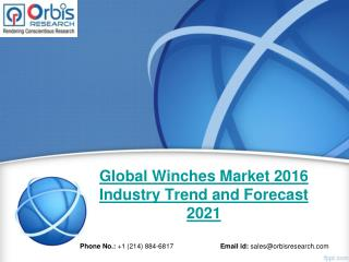 Winches Market: Global Industry Research, Analysis, Trends, Growth, Forecast and Development