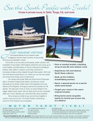 Motor Yacht Tivoli Cruise South Pacific Flyer