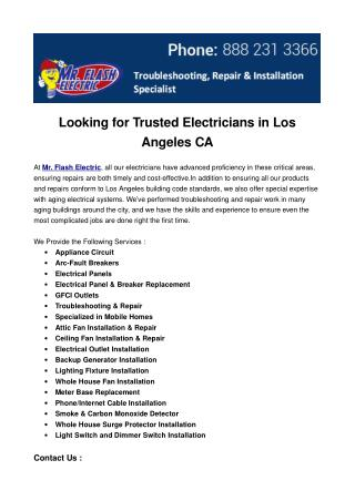 Looking for Trusted Electricians in Los Angeles CA