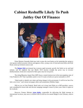 Cabinet Reshuffle Likely To Push Jaitley Out Of Finance