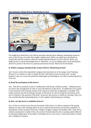 Questionnaire About Driver Monitoring System