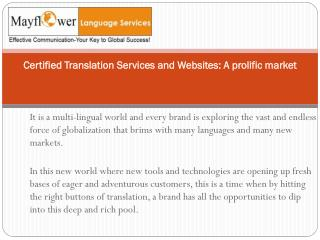 Certified Translation Services and Websites a Prolific Market