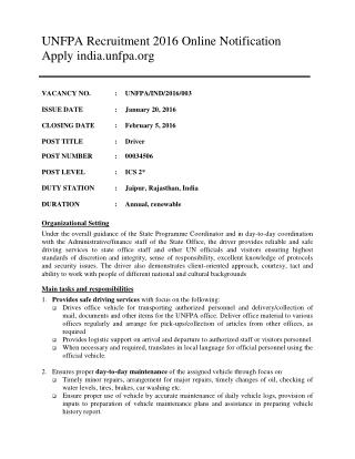 UNFPA Recruitment 2016 Online Notification Apply India.unfpa.org