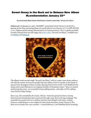 Sweet Honey in the Rock set to Release New Album #Loveinevolution January 22nd