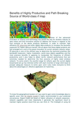 Benefits of Highly Productive and Path Breaking Source of World-class rf map