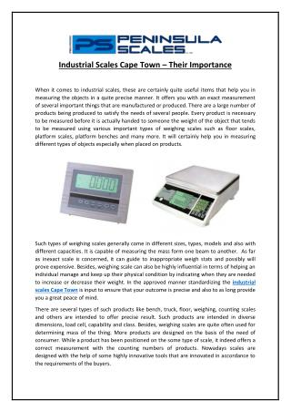 Industrial Scales Cape Town – Their Importance