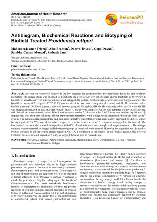 Antibiogram, Biochemical Reactions and Biotyping of Biofield Treated Providencia rettgeri