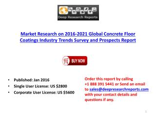 Concrete Floor Coatings Industry: Global Trend, Profit, and Key Manufacturers Analysis Report