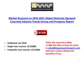 Global Shotcrete (Sprayed Concrete) Industry Trends Survey and 2021 Prospects Report