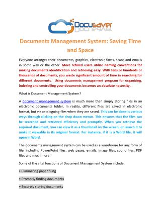 Documents Management System: Saving Time and Space