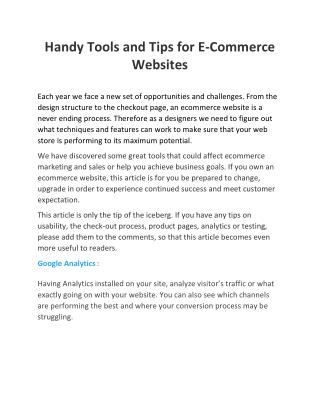 Handy Tools and Tips for E-Commerce Websites