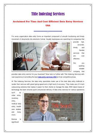 Data Entry Services USA