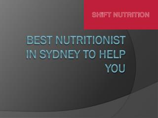 Best nutritionist in Sydney to help you