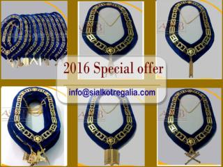 Masonic Blue Lodge chain collar on blue velvet