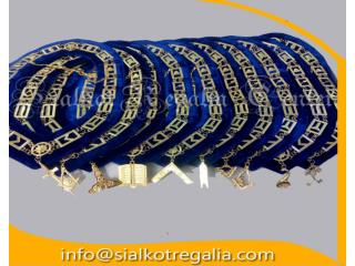 Gold finish Blue lodge chain collar