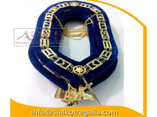 Masonic Blue Lodge officer chain collar on blue velvet