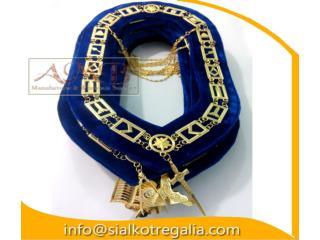 Masonic Blue Lodge officer chain collar on blue velvet