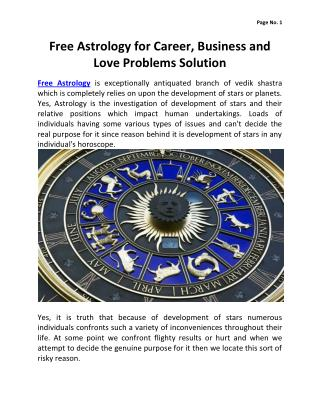 Free Astrology for Career, Bussiness and Love Problems Solution