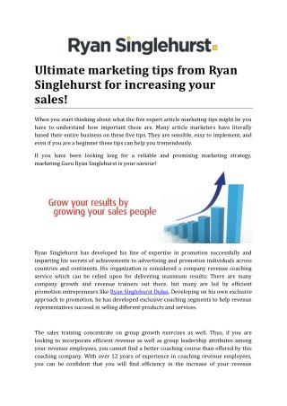Ultimate marketing tips from Ryan Singlehurst