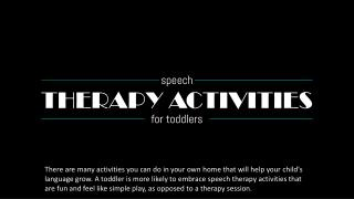 Speech Therapy Activities for Toddlers