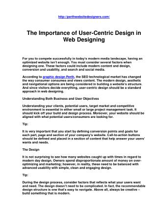 The Importance of User-Centric Design in Web Designing