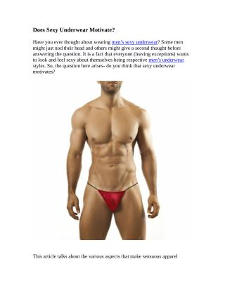 Does Sexy Underwear Motivate?
