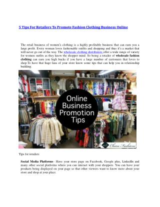 5 Tips For Retailers To Promote Fashion Clothing Business Online