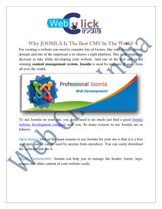 Joomla Website Development Company in Delhi India