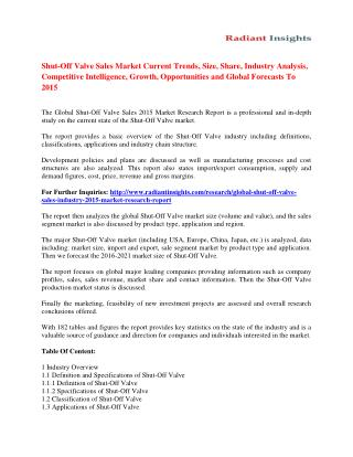 Shut-Off Valve Sales Market Outlook and Forecast up to 2015