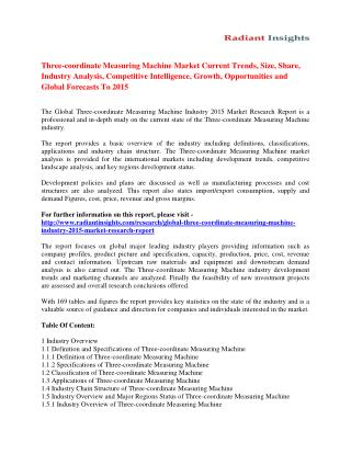 Three-coordinate Measuring Machine Market Size, Share, Trends Analysis And Forecasts Report 2015 publishedThe report foc