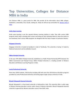 Searching for Distance MBA in India?