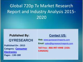 Global 720p Tv Market 2015 Industry Shares, Insights, Growth, Overview and Demands