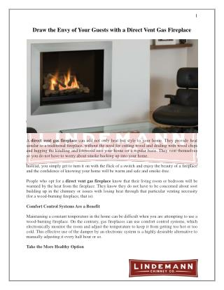 Draw the Envy of Your Guests with a Direct Vent Gas Fireplace
