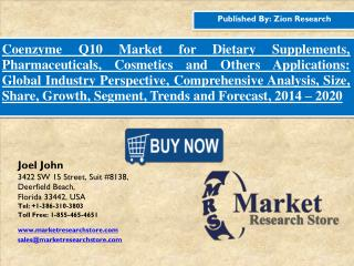 Global Coenzyme Q10 Market Size To Reach USD 850.0 million in 2020