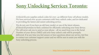 Sony Unlocking Services Toronto