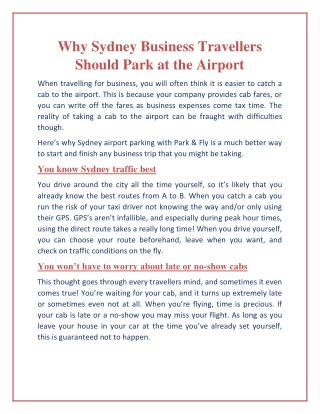 Why Sydney Business Travellers Should Park at the Airport